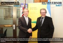 El Sr. Embajador de Australia en Argentina Noel Campbell junto al Lic. Francisco José Vadone Director editorial de Revista Petroquimica, Petróleo, Gas, Química & Energía y Periódico El Inversor Energético y Minero, en una entrevista exclusiva.